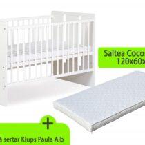 Patut fara sertar KLUPS Paula Alb + Saltea 8 MyKids