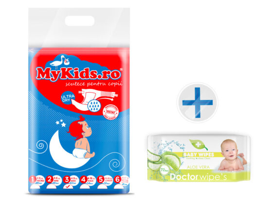 Scutece Copii MyKids New Midi 3 (4-9 Kg ) 62 Buc Cadou Servetele Umede Dr. Wipes Aloe Fara Capac