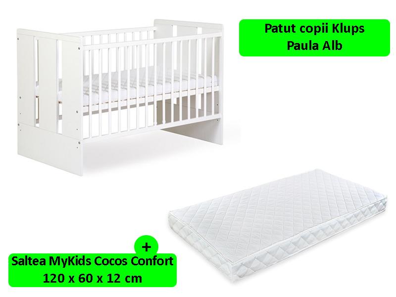 Patut Klups Paula Alb + Saltea Confort 12 MyKids