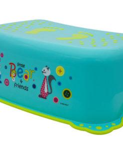 Taburet Inaltator Baie Copii MyKids Little Bear and Friend cu sistem antialunecare Turquoise
