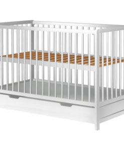 Patut copii din lemn Hubners Dominic 120×60 cm alb cu sertar
