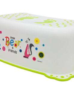 Taburet Inaltator Baie Copii MyKids Little Bear and Friend cu sistem antialunecare Alb-Verde