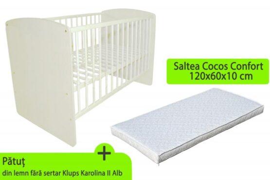 Patut KLUPS Karolina II Alb + Saltea 10 MyKids Confort II