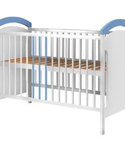 Patut copii din lemn Hubners Anita 120×60 cm alb-albastru