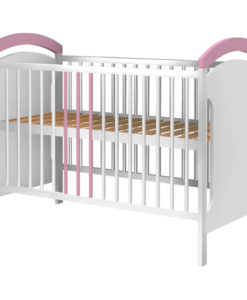 Patut copii din lemn Hubners Anita 120×60 cm alb-roz