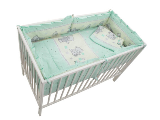 Lenjerie MyKids Teddy Toys Turquoise 4+1 Piese M2 120×60