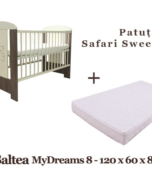 Patut copii Klups Safari Sweet Bear + Saltea MyDreams 8