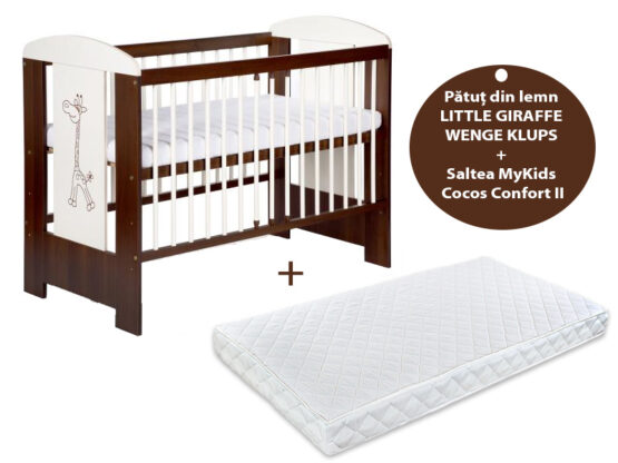 Patut KLUPS Little Giraffe Wenge + Saltea 12 Confort