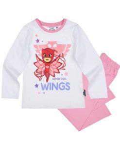 Pijama cu maneca lunga PJ Masks Alb cu Roz