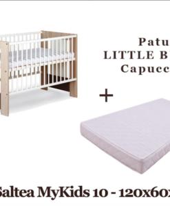 Patut Copii Din Lemn KLUPS LITTLE BUNNY Capuccino + Saltea MyKids 10