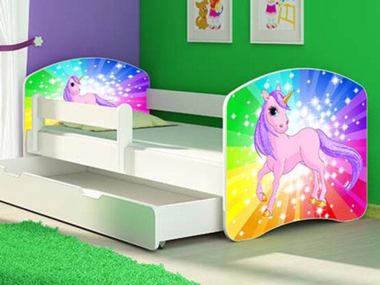 Patut Tineret MyKids Rainbow Unicorn cu Sertar si Saltea 140×70