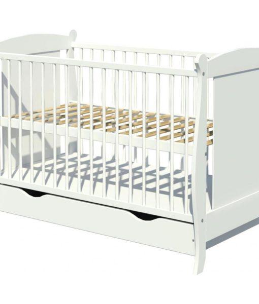 Patut copii din lemn Hubners Laura 120×60 alb cu sertar