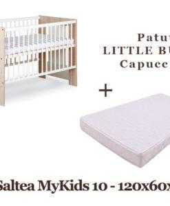 Patut Copii Din Lemn KLUPS LITTLE BUNNY Capuccino + Saltea MyKids Basic II 10cm
