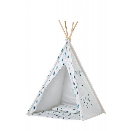 Cort de indieni TIPI-06 Ecotoys cu salteluta si perne – Blue Forest