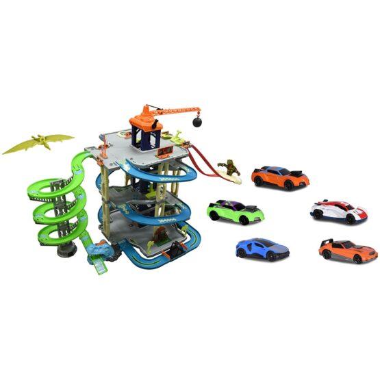 Pista de masini Majorette Dino Action Tower cu 5 masinute