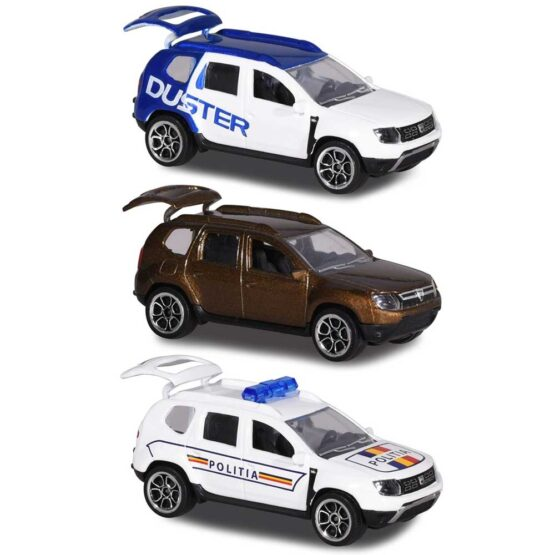 Set Majorette Dacia Duster masina alb albastru, masina maro si masina de politie