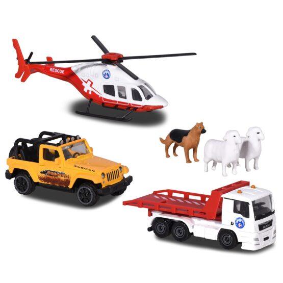 Set Majorette Diorama Mountain Rescue cu 2 masinute, 1 elicopter si 3 figurine