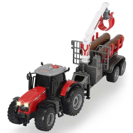 Tractor Dickie Toys Massey Ferguson MF 8737 cu remorca 42 cm