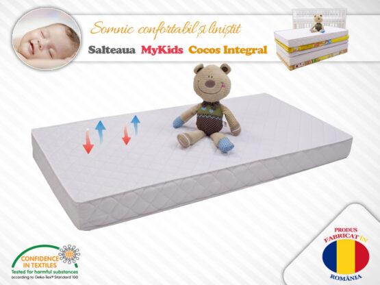 Saltea MyKids Fibra De Cocos Integral 140x70x10 Husa Microfibra Matlasata