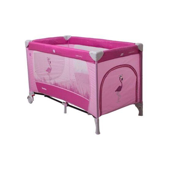 Patut pliabil cu un nivel Coto Baby Samba Pink