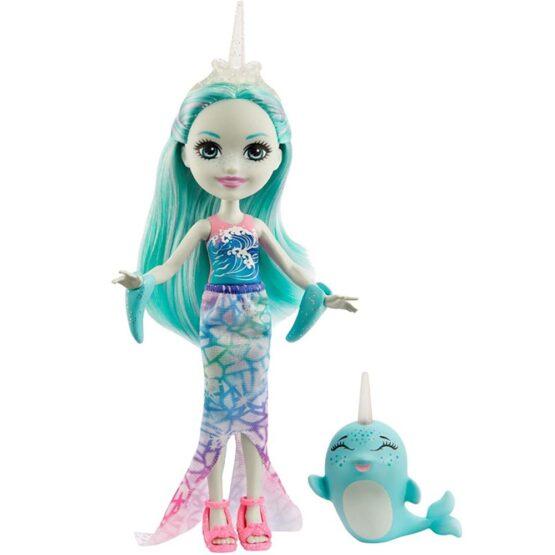 Papusa Enchantimals by Mattel Naddie Narwhal cu figurina Sword