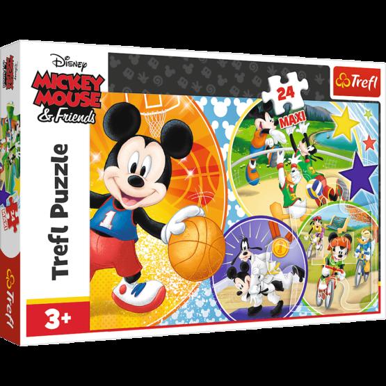 Puzzle Trefl Maxi Disney Mickey Mouse, E timpul pentru sport 24 piese