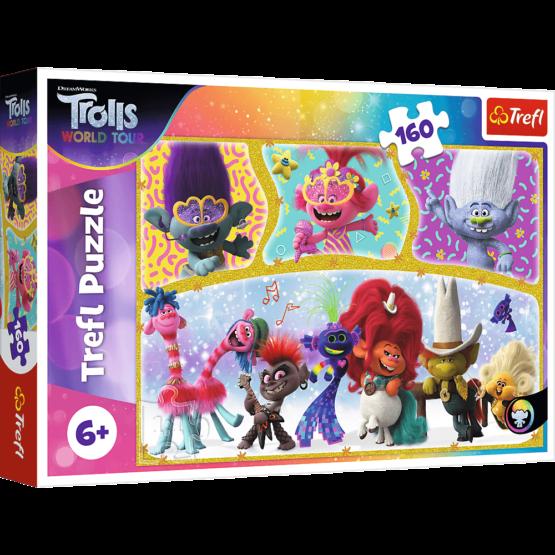 Puzzle Trefl DreamWorks Trolls, Lumea fericita a Trolilor 160 piese
