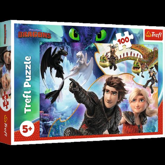 Puzzle Trefl DreamWorks Dragons, Pe taramul dragonilor 100 piese