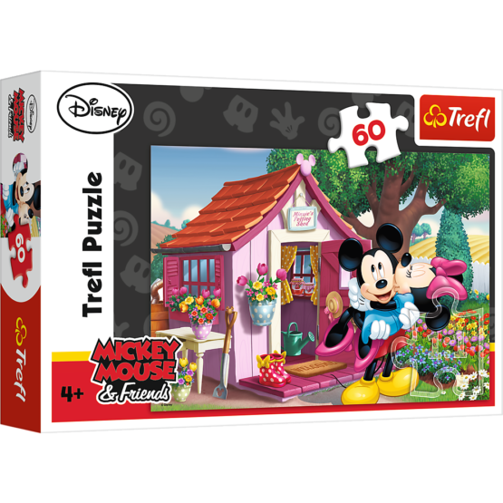 Puzzle Trefl Disney Mickey Mouse, Mickey si Minnie in gradina 60 piese