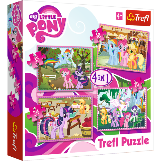 Set puzzle 4 in 1 Trefl My Little Pony, Poneii in vacanta, 1×35 piese, 1×48 piese, 1×54 piese, 1×70 piese