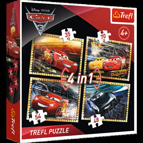 Set puzzle 4 in 1 Trefl Disney Cars, Gata de cursa 1×35 piese, 1×48 piese, 1×54 piese, 1×70 piese