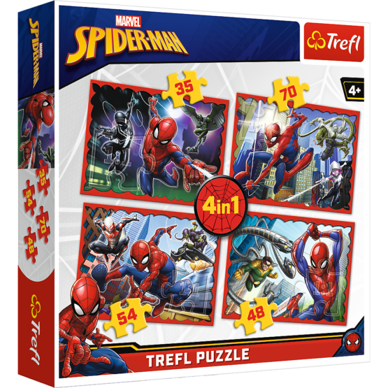 Set puzzle 4 in 1 Trefl Marvel Spider Man, Forta paianjenului, 1×35 piese, 1×48 piese, 1×54 piese, 1×70 piese