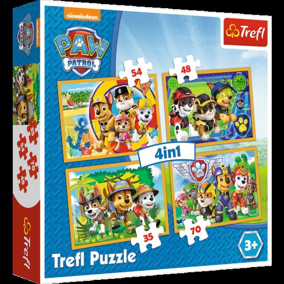 Set puzzle 4 in 1 Trefl Paw Patrol, Mereu punctual, 1×35 piese, 1×48 piese, 1×54 piese, 1×70 piese