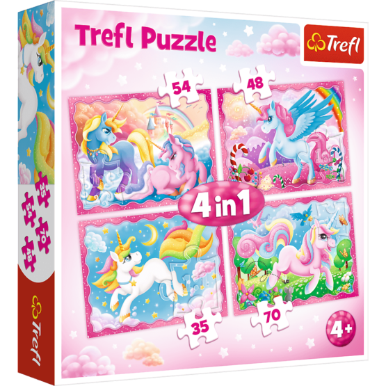 Set puzzle 4 in 1 Trefl Lumea magica a unicornilor, 1×35 piese, 1×48 piese, 1×54 piese, 1×70 piese