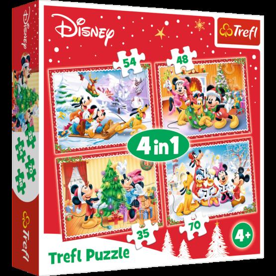 Set puzzle 4 in 1 Trefl Disney, Sarbatoarea Craciunului, 1×35 piese, 1×48 piese, 1×54 piese, 1×70 piese