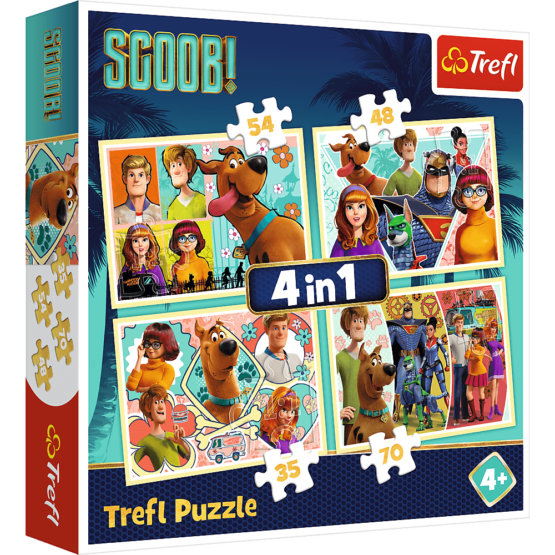 Set puzzle 4 in 1 Trefl Scooby Doo si prietenii, 1×35 piese, 1×48 piese, 1×54 piese, 1×70 piese