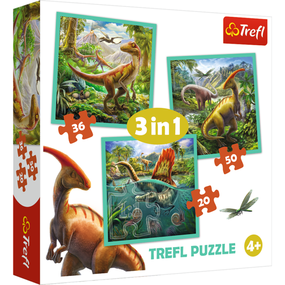 Set puzzle 3 in 1 Trefl Lumea extraordinara a dinozaurilor, 1×20 piese, 1×36 piese, 1×50 piese