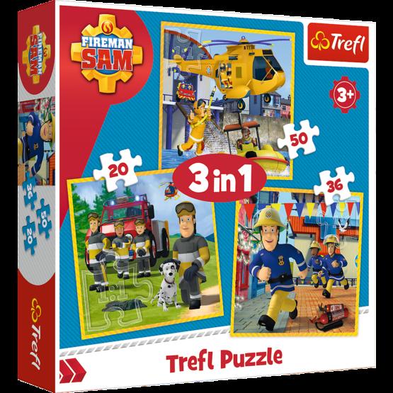 Set puzzle 3 in 1 Trefl Fireman Sam, Pompierul Sam in actiune, 1×20 piese, 1×36 piese, 1×50 piese