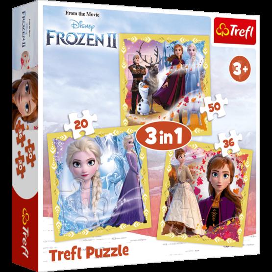 Set puzzle 3 in 1 Trefl Disney Frozen 2, Puternicele Ana si Elsa, 1×20 piese, 1×36 piese, 1×50 piese
