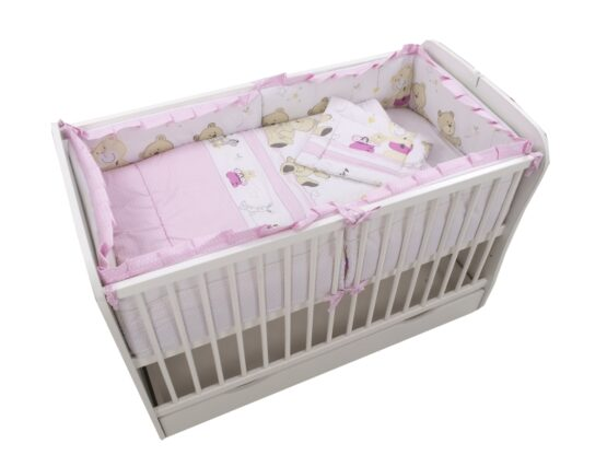 Lenjerie MyKids Teddy Play Pink M1 4+1 Piese 120×60