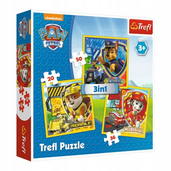 Set puzzle 3 in 1 Trefl Paw Patrol, Marshall Rubble si Chase, 1×20 piese, 1×36 piese, 1×50 piese