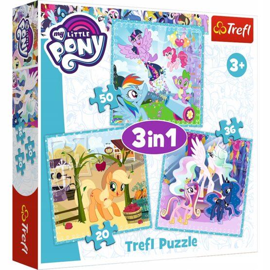 Set puzzle 3 in 1 Trefl My Little Pony, Zilele vesele ale poneilor, 1×20 piese, 1×36 piese, 1×50 piese