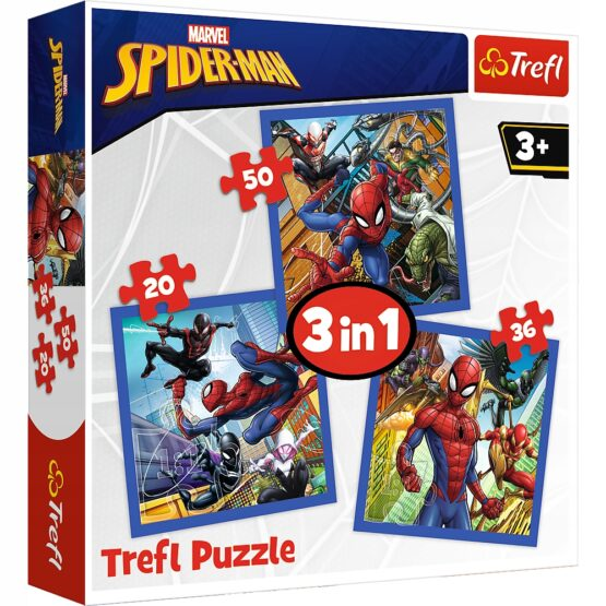 Set puzzle 3 in 1 Trefl Marvel Spider Man, Forta paianjenului, 1×20 piese, 1×36 piese, 1×50 piese