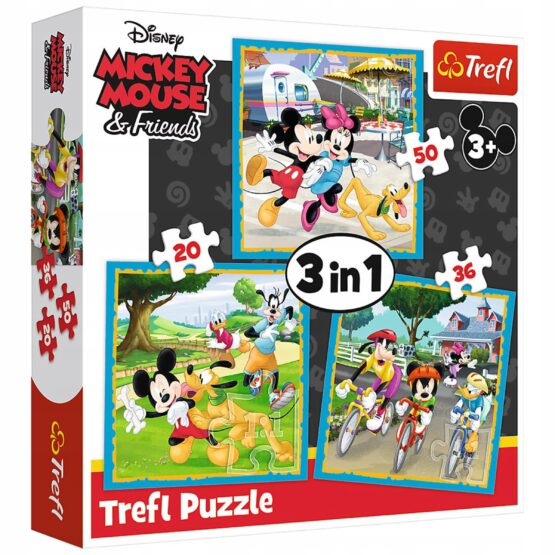 Set puzzle 3 in 1 Trefl Disney Mickey Mouse, Mickey si prietenii, 1×20 piese, 1×36 piese, 1×50 piese